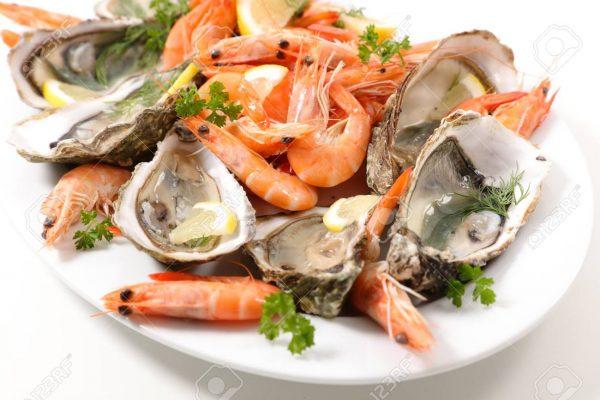 close up on seafood platter